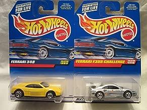 Hot Wheels Silver Ferrari F355 Challenge #1115 & Yellow Ferrari 348 #993 Die Cast 1/64 Scale 2 Car Bundle!