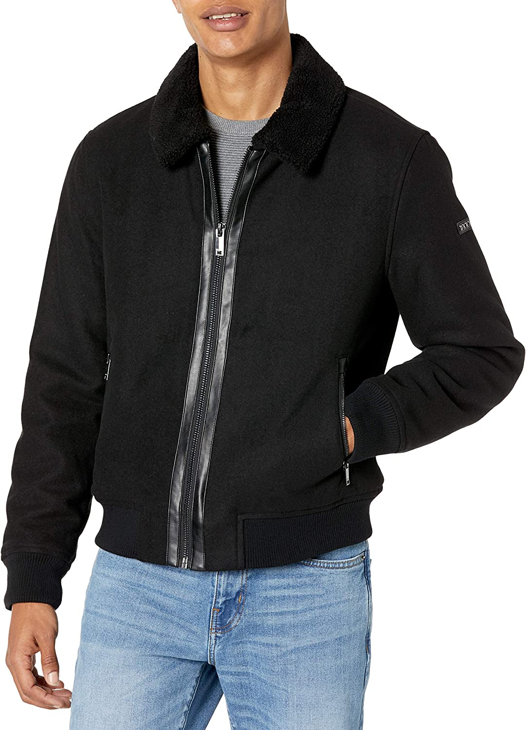 DKNY Men's Wool Blend Bomber Jacket with Sherpa Collar