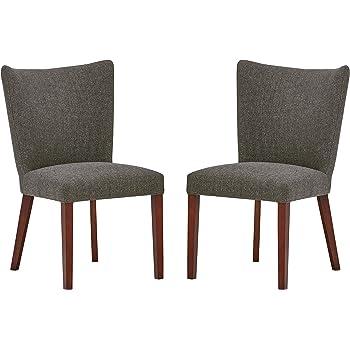 colore: noce Set di 2 sedie da sala da pranzo in tessuto grigio e piedi in metallo 52 x 59 x 87 cm By Demeyere Gaby