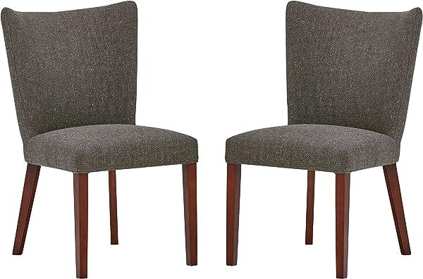 铆钉 Tina 中世纪现代弧形靠背厨房餐椅 36 英寸高度灰灰色 2 件套