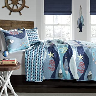 Lush Decor Sealife Fish Ocean Wave Reversible 2 Piece Blue Quilt Bedding Set, Twin,