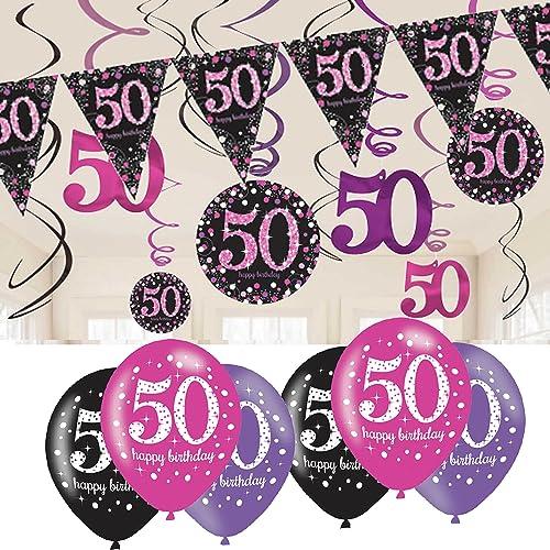 9ft Happy 50th Birthday PINK GLITZ Prismatic Banner Decoration