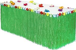 Hawaiian Luau Grass Table Skirt: BONUS 12 Hibiscus Flowers | Extra Thick | Includes Adhesive | Perfect Beach, Tiki, Tropical, Island, Party, Luau Decoration 9ft