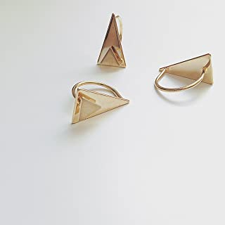 SunJewel gold two triangle cutout topped ring