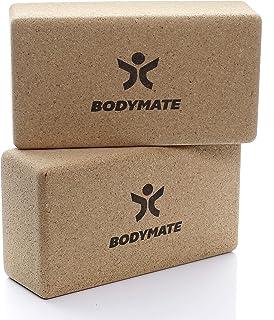 BODYMATE set van 2 yogablokken van 100% ecologisch natuurlijk kurk, ondersteuning voor alle asana's, meditatie & ontspanni...