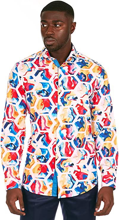 90s Outfits for Guys | Trendy, Party, Cool, Casaul Azaro Uomo Mens Colorful Printed Casual Shirt Button Down Slim Fit Long Sleeve  AT vintagedancer.com