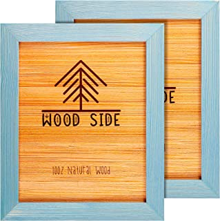 Rustic Wooden Picture Frame 8x10 - Blue Turquoise Set of 2-100% Natural Eco Solid Wood and High Definition Real Glass for Wall Mounting Photo Frames