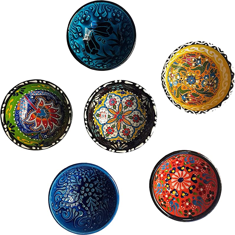 Decorative Desing Turkish Ceramic Bowl Set Of 6 Handcrafted Multicolor Small Bowl
