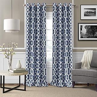 "Elrene Home Fashions 26865901214 Grayson Trellis Room Darkening Grommet Linen Window Curtain Drape Panel, 52"" x 95"", Indig..."
