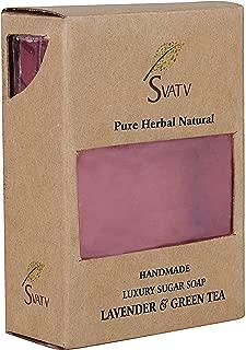 SVATV Lavanda de lujo hecha a mano con jabón de azúcar y té verde para todos los tipos de piel 100 g Barra