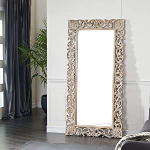 Deco 79 Wood Carved Mirror, 36 by 72