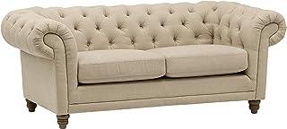 """Amazon Brand – Stone & Beam Bradbury Chesterfield Tufted Loveseat Sofa Couch, 78.7""""W, Hemp"""