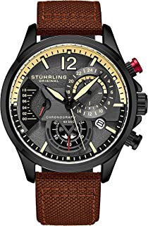 Original Mens Dress Watch - Aviator Watch with Leather Band Watches for Men with Date 24 Hour Subdial Chronograph Sports Watch
