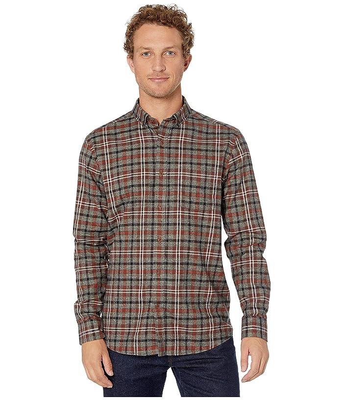 Johnston and Murphy  Brushed Heather Large Plaid Shirt (Olive) Mens Clothing