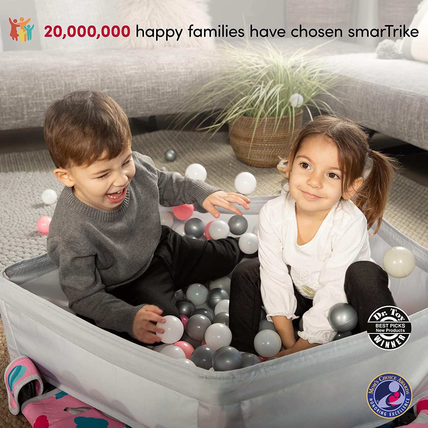 Foldable Kids Trampoline smarTrike 9200000 Indoor Toddler Trampoline with Handle Ball Pit with 100 Balls Included 1-5 Years