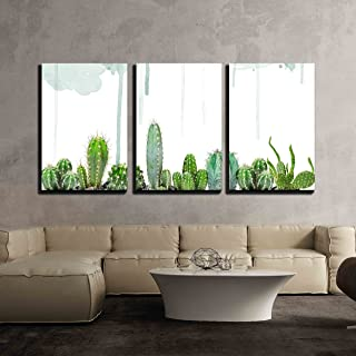 wall26 - 3 Piece Canvas Wall Art - Various Cacti on Watercolor Background - Modern Home Decor Stretched and Framed Ready to Hang - 16