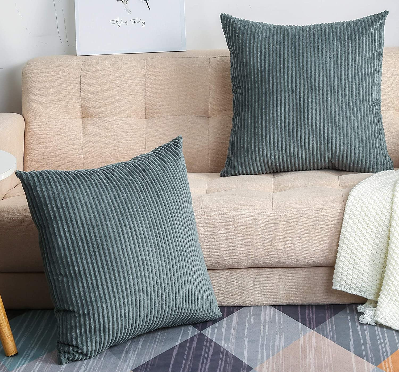 TangDepot, Set of 2 Solid Velvet Striped Corduroy Decorative Thr