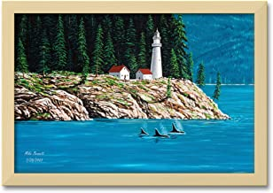 Northwest Passage Lighthouse #1 Professionally Framed Extra-Large Wall Decor by Mike Bennett Print Size: 30