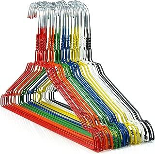 HANGERWORLD 20 Multi Color Coating 16inch Metal Wire 13 Gauge Pants Bar Coat Clothes Garment Hangers