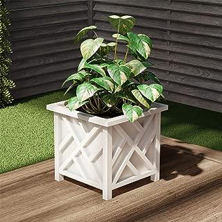 Pure Garden 50-LG5097 Square Planter Box-White Lattice Container for Flowers & Plants, Cream