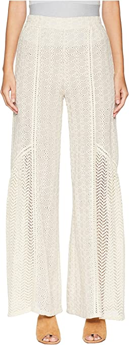 Embroidered Voile Wide Legged Pant