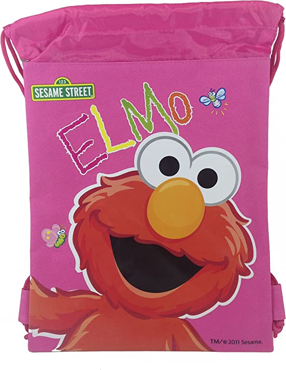 Black Sesame St Elmo Drawstring Backpack Kids Sling Tote Gym Bag Birthday Gift