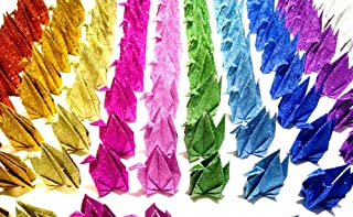 Kingsnow 100 PCS Multicolor Glitter Origami Paper Crane Folded Hand-Made DIY Crane for Wedding Party Baby Shower Background Decoration, Symbol of Love, Happiness, Good Luck