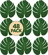 Prextex 48 Artificial Palm Leaves for Party Table Decoration, Imitation Tropical Leaf Placemats Table Runners or Greenery Décor for Events, Beach Theme or Jungle Party Supply (Large, 13.8 x 11.4 Inch)