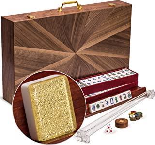 Yellow Mountain Imports American Mahjong Set, Golden Fortune with Inlaid Wooden Case - Four Wooden Racks, Four Acrylic Pushers, Wind Indicator, Dice, Wind Indicator & Wright Patterson Counting Coins