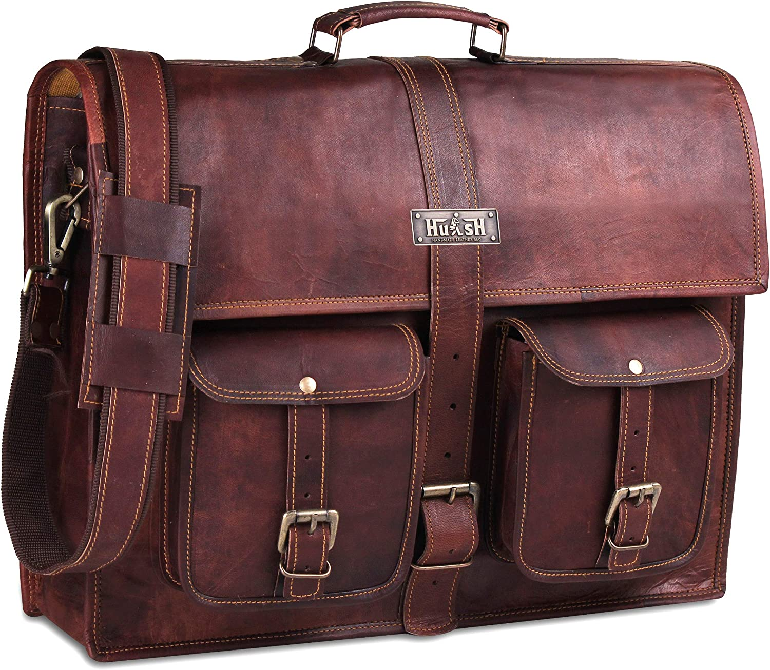 Leather Messenger Bag for Men 18 Inch Vintage Handmade Genuine Leather Laptop Bag for Men - Best fit for Laptops up to 18 Inches with lap top padding With this Leather Computer bag for men by HULSH