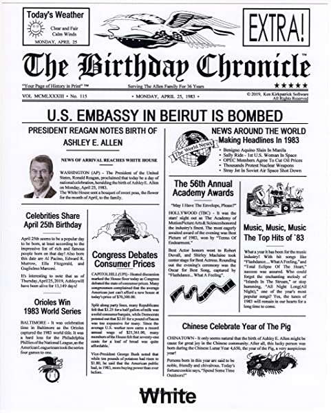 The Birthday Chronicle On The Month Year You Were Born Newspaper 11 X 14 Birthdates 01 01 1917 To 12 31 2016 Larger Size Antique Parchment Royal OR Marble Art Backgrounds White