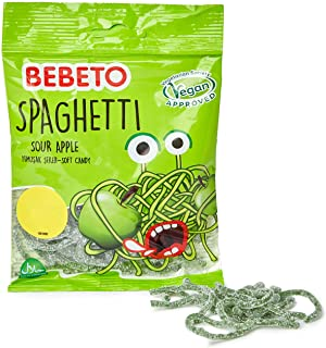 Bebeto Sour Apple Spaghetti Sweets - Delicious Vegan Sweets Made with Real Fruit Juice & Halal Certified, 80 g