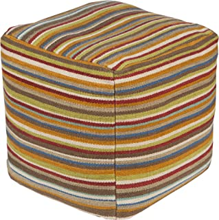 Surya Decorative Pouf, 18 by 18 by 18-Inch, Multicolored