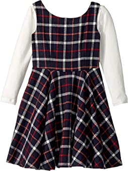 Flannel Fit N Flare Dress (Big Kids)