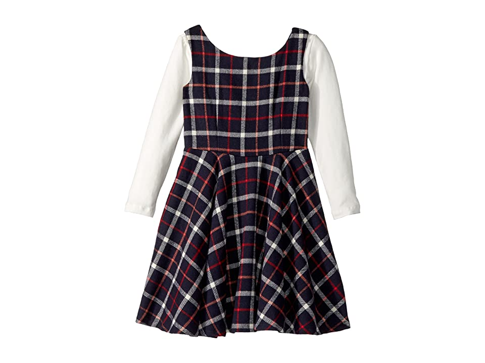 fiveloaves twofish Flannel Fit N Flare Dress (Big Kids) (Navy) Girl