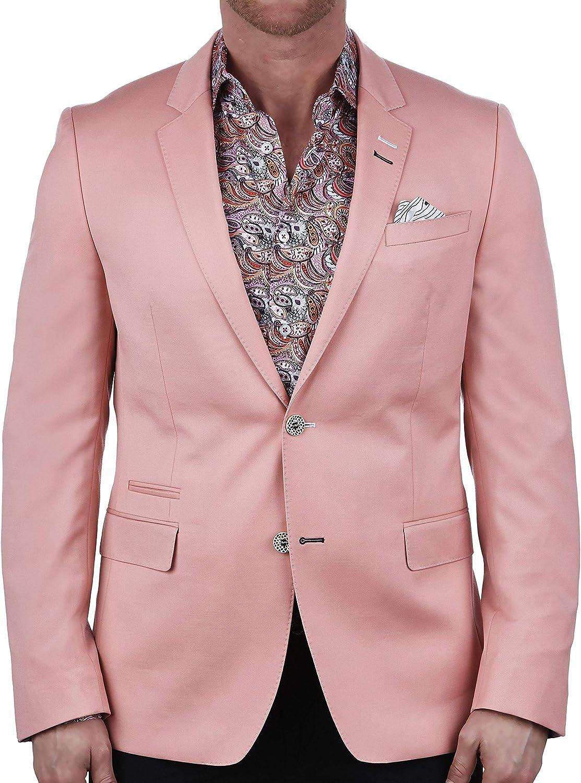 Maceoo Mens Designer Blazer - Night Out Stylish Sportswear - Socrate Elegant Pink - Tailored Fit