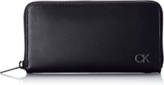 CALVIN KLEIN Men's Long ZIPAROUND Accessory-Travel Wallet, Black, One Size