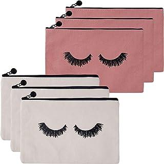 FT-SHOP Kosmetiktasche 6 Stück Segeltuch Wimpern Make-up Kosmetik Reisetaschen Kulturbeutel Taschen für Frauen und Mädchen