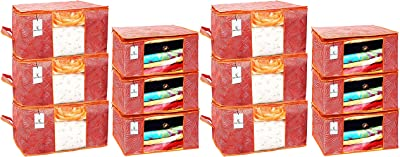 Kuber Industries Laheriya Printed Non Woven 6 Pieces Saree Cover and 6 Pieces Underbed Storage Bag, Cloth Organizer for Storage, Blanket Cover Combo Set (Orange) -CTKTC38701