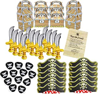 Pirate Birthday Party Supplies Bundle with Inflatable Swords, Hats, Eye Patches, Favor Boxes and Authentic Code of Conduct Great for Birthday Parties and Pirate Events by Well Pack Box