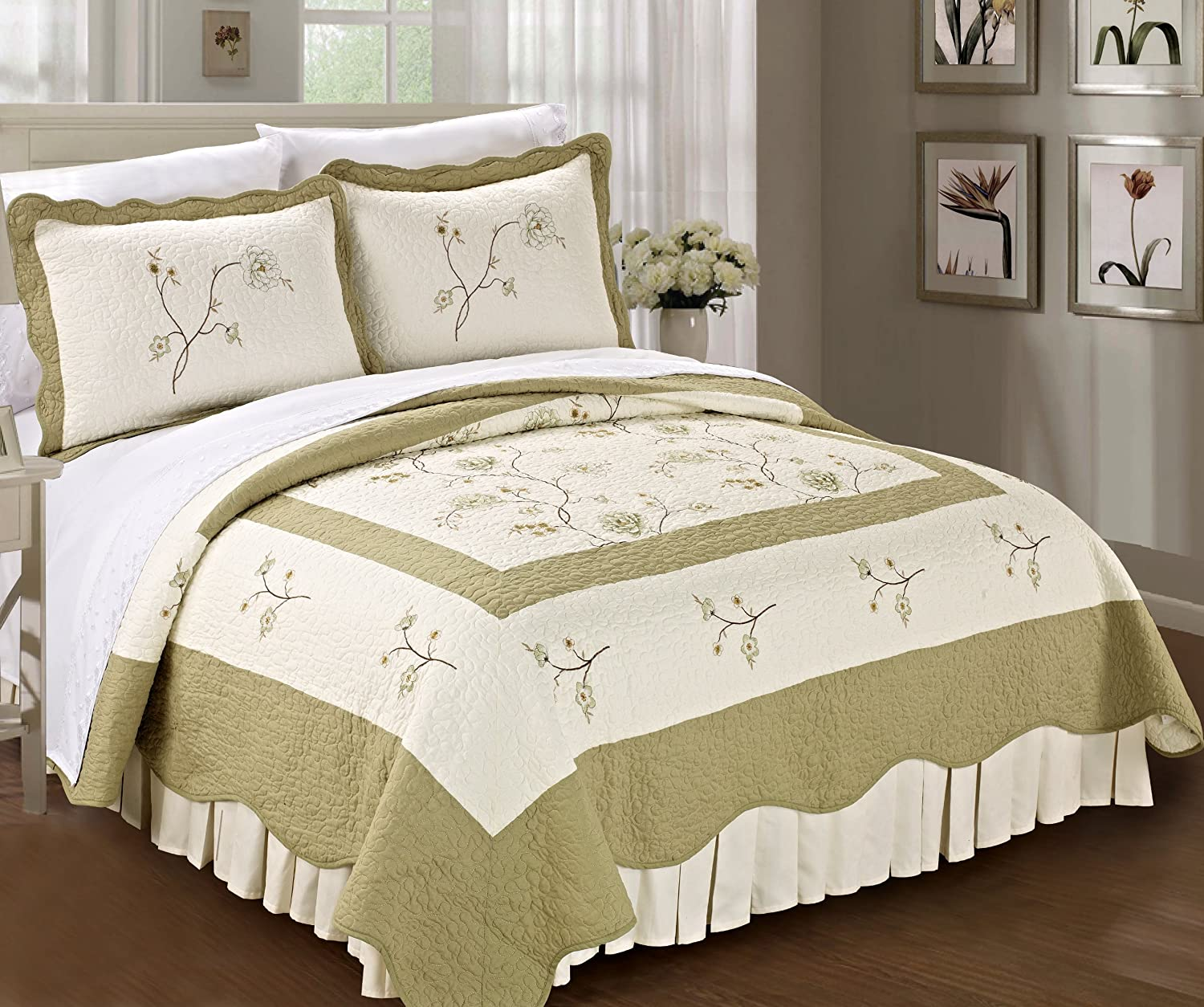 Serenta Classic Prewashed Green Spring Flowers Microfiber Cotton Filled Bedspread Quilt 3 Pieces Bed Set (Queen)