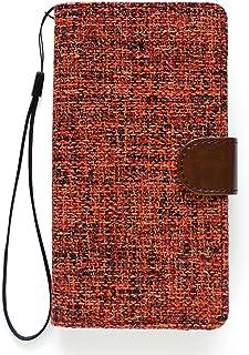 楽々ショップ SONY ソニー Xperia Z Ultra SOL24 au 横型 横開き 手帳ケース スマホ カバー 綿麻素材 手帳型ケース ストラップ付き 画面保護フィルム付き SOL24-PUCF-W97-Y2レッド