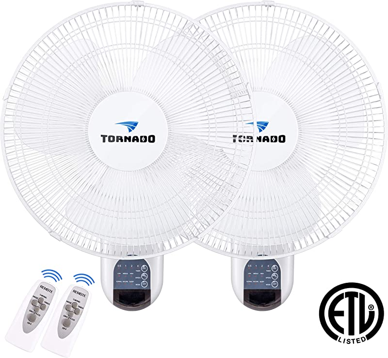 2 Pack Tornado 16 Inch Digital Wall Mount Fan Remote Control Included 3 Speed Settings 3 Oscillating Settings 65 Inches Power Cord ETL Safety Listed