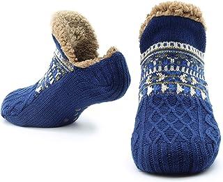 Zapatillas mullidas Calcetines para mujeres Hombres Calor con calcetines Calcetines tejidos Lana Sherpa Fuzzy Bed Zapatillas Tamaño 5-8 antideslizante