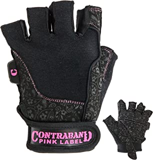 Contraband Pink Label 5127 Womens Vegan Weight Lifting Gloves w/Synthetic Microfiber Amara Leather (Pair) - Machine Washable Fingerless Workout Gloves Designed for Women