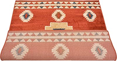 Nevita Collection Southwestern Native American Design Area Rug Rugs Geometric, Synthetic, Orange (Terra), 3 x 3 Square