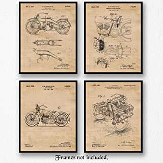 Original Harley Davidson Patent Poster Prints, Set of 4 (8x10) Unframed Photos, Wall Art Decor Gifts Under $20 for Home, Office, Man Cave, College Student, Teacher, Coach, American Motorcycles Fan
