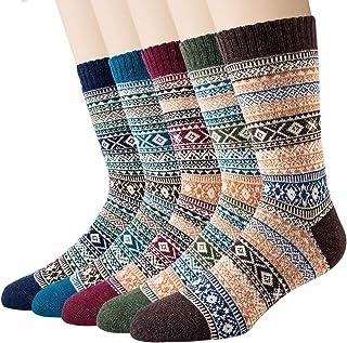 5 Pares Calcetines de Lana Merino de Invierno Calcetines Térmicos Gruesos y Cálidos