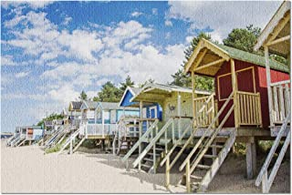 Hunstanton, Norfolk, England - Colorful Beach Huts 9026158 (Premium 1000 Piece Jigsaw Puzzle for Adults, 20x30, Made in USA!)