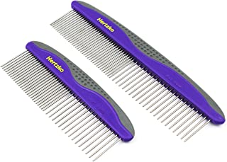 2 Pack Pet Combs by Hertzko - Small & Large Comb Included for Both Small & Large Areas -Removes Tangles, Knots, Loose Fur ...